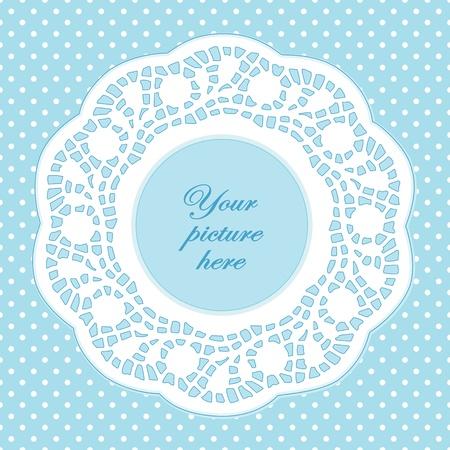 festonati: Vintage Cornice Lace Doily Picture, pastello aqua polka dot sfondo. Vettoriali