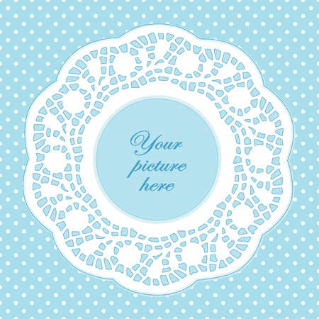 Vintage Lace Doily Picture Frame, pastel aqua polka dot background.  Vector