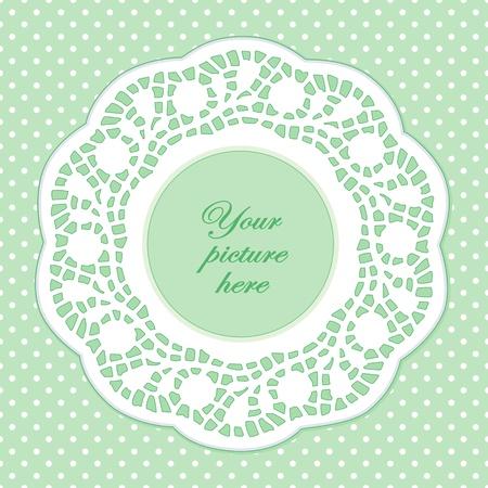 festonati: Vintage Cornice Lace Doily Picture, verde pastello polka dot sfondo.