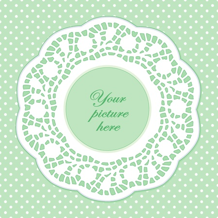 Vintage Lace Doily Picture Frame, pastel green polka dot background. Vector