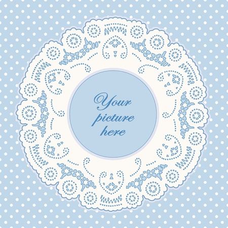 Vintage Lace Doily Picture Frame, pastel blue polka dot background.