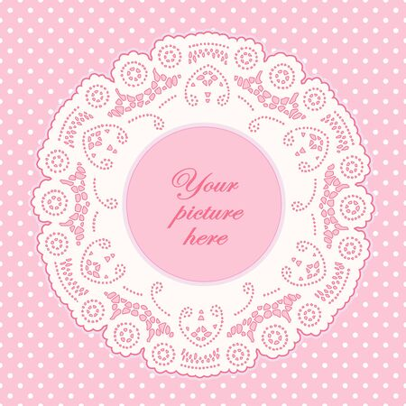 Vintage Lace Doily Picture Frame, pastel pink polka dot background.  Vector