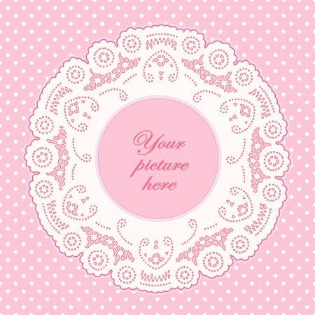 scrapbook homemade: Vintage Lace Doily Picture Frame, pastel pink polka dot background.