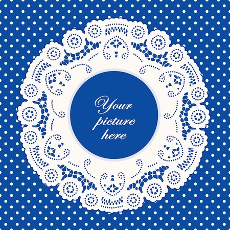 Vintage Lace Doily Picture Frame, bright blue polka dot background. Vector