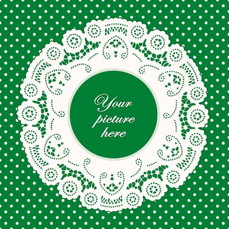 Vintage Lace Doily Picture Frame, bright green polka dot background.  Vector