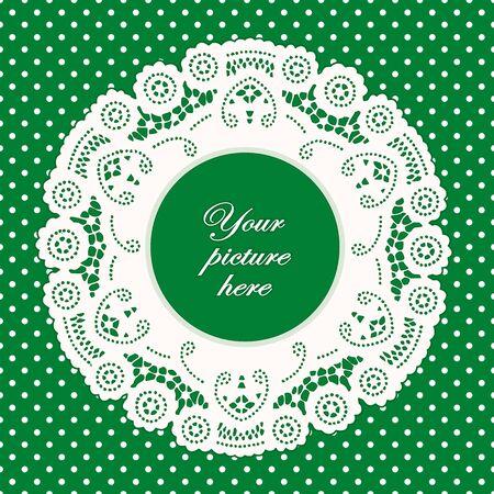 kelly: Vintage Lace Doily Picture Frame, bright green polka dot background.  Illustration