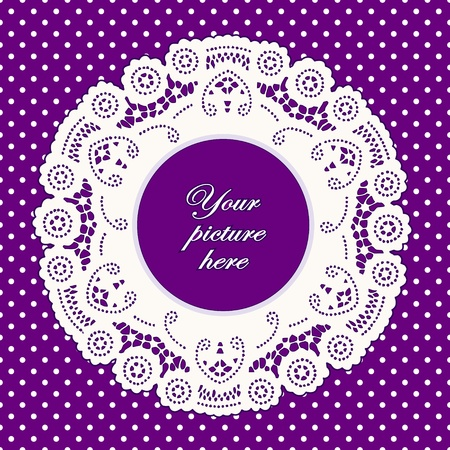 scalloped: Vintage Lace Doily Picture Frame, bright lavender polka dot background.  Illustration