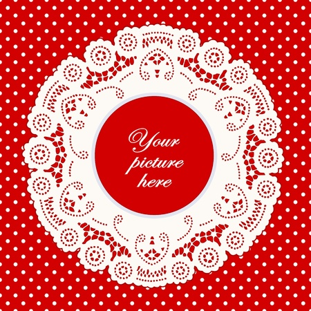 frilly: Vintage Lace Doily Picture Frame, bright red polka dot background.