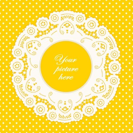 scalloped: Vintage Lace Doily Picture Frame, bright yellow polka dot background.