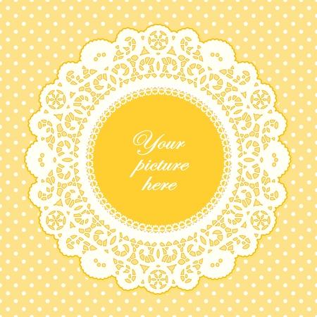 doilies: Encaje antiguo tapete marco de foto, el pastel de fondo amarillo de lunares. Vectores