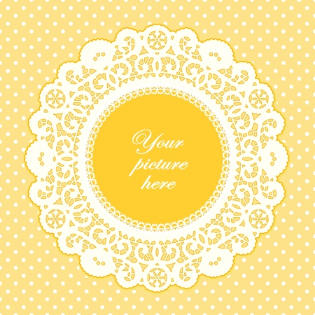 scalloped: Vintage Lace Doily Picture Frame, pastel yellow polka dot background.  Illustration