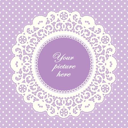 Vintage Lace Doily Picture Frame, pastel lavender polka dot background.  Vectores
