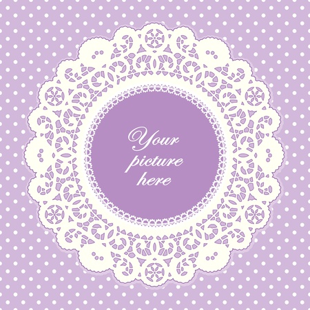 Vintage Lace Doily Picture Frame, pastel lavender polka dot background.  Vettoriali