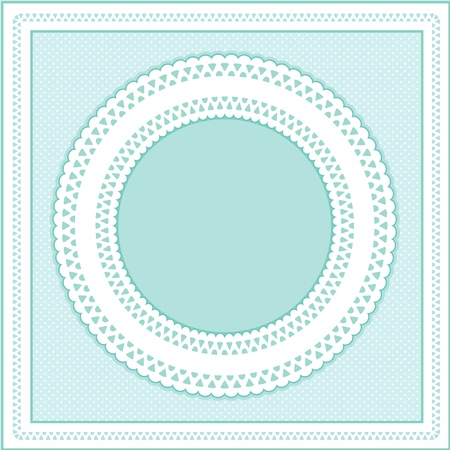 scalloped: Eyelet Lace Doily Round Picture Frame on pastel aqua polka dot background.