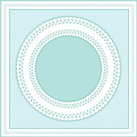 festonati: Occhiello Lace Doily cornice rotonda su sfondo pastello aqua polka dot. Vettoriali