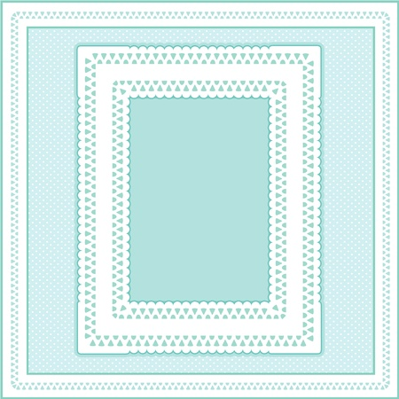 Eyelet Lace Doily Picture Frame on pastel aqua polka dot background.  Vector