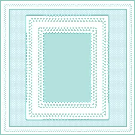 eyelet: Eyelet Lace Doily Picture Frame on pastel aqua polka dot background.  Illustration