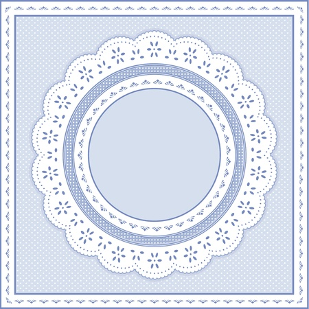 gingham: Eyelet Lace Doily Round Picture Frame on pastel blue polka dot background.