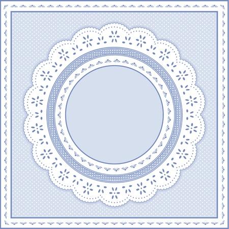 festonati: Occhiello Lace Doily cornice rotonda su sfondo pastello polka dot blu.