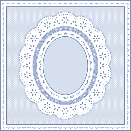 gingham: Eyelet Lace Doily Oval Picture Frame on pastel blue polka dot background.