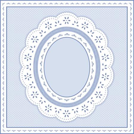 festonati: Occhiello Lace Doily cornice ovale su sfondo pastello polka dot blu.