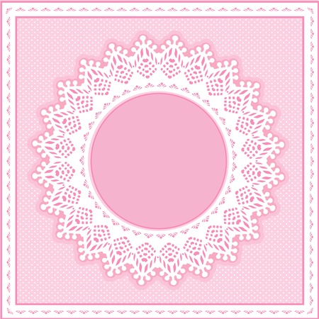 Eyelet Lace Doily Round Picture Frame on pastel pink polka dot background. Vector