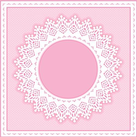 festonati: Occhiello Lace Doily cornice rotonda su sfondo pastello rosa polka dot. Vettoriali