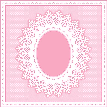 Eyelet Lace Doily Oval Picture Frame on pastel pink polka dot background. Vector