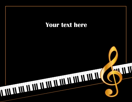 treble clef: Music Entertainment Event Poster Frame, piano keyboard, golden treble clef, horizontal.