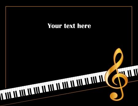 Music Entertainment Event Poster Frame, pianoklavier, gouden solsleutel, horizontaal.