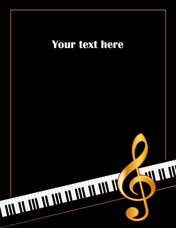 g clef: Music Entertainment Event Poster Frame, piano keyboard, golden treble clef, vertical. Illustration