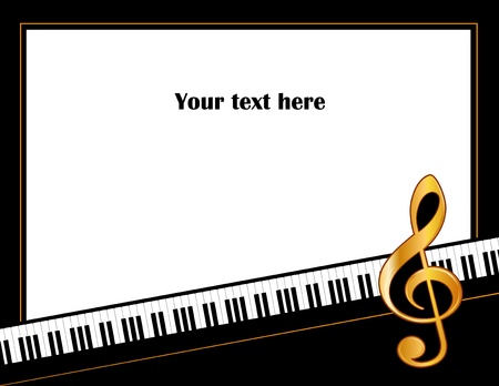 g clef: Music Entertainment Event Poster Frame, piano keyboard, golden treble clef, horizontal.