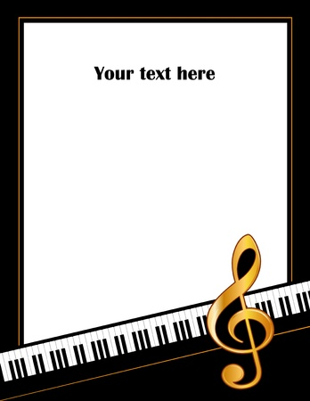 music poster: Music Entertainment Event Poster Frame, piano keyboard, golden treble clef, vertical.  Illustration