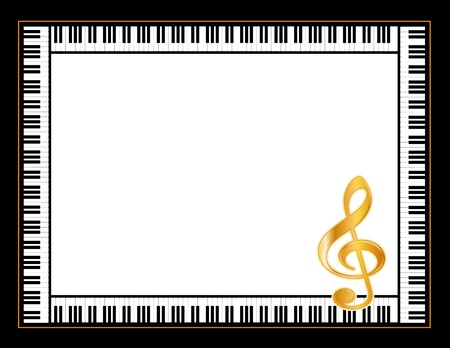 black piano: Music Entertainment Event Poster Frame, piano keyboard, golden treble clef, horizontal.