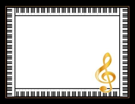 piano: Music Entertainment P�ster del marco, teclado de piano, clave de sol de oro, horizontal. Vectores