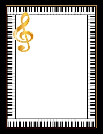 key signature: Music Entertainment Event Poster Frame, piano keyboard, golden treble clef, vertical. Illustration