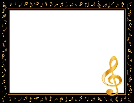 Music Entertainment Poster Frame, black border, gold music notes, treble clef, horizontal.  Vector