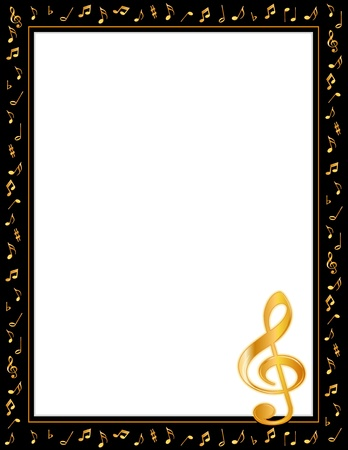Music Entertainment Poster Frame, black border, gold music notes, treble clef, vertical.  Vector
