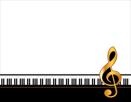 Music Entertainment Event Poster Frame, piano keyboard, golden treble clef, horizontal.