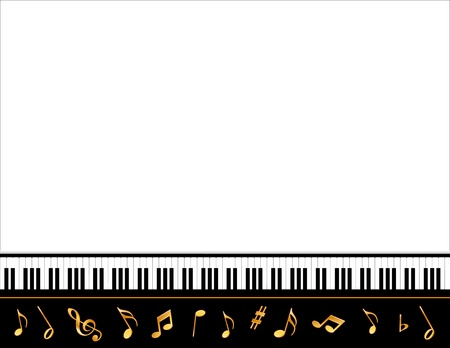 musical event: Music Entertainment Event Poster Frame, piano keyboard, gold notes, horizontal.