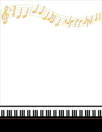 뮤직 엔터테인먼트 이벤트 포스터 프레임, 피아노 키보드, 금 노트, 수직. 일러스트