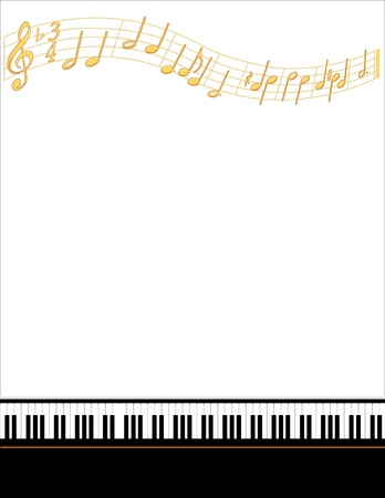Music Entertainment Event Poster Frame, piano keyboard, gold notes, vertical.  Vector