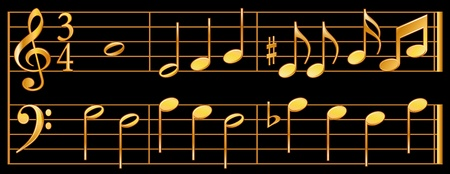 key signature: Golden Music Notes, bass, treble signature, black background.