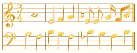 황금 음악 노트, 저음, 고음 서명, 흰색 배경입니다.