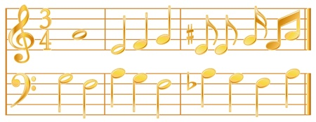 Golden Music Notes, bass, treble signature, white background. Vector