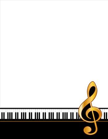 뮤직 엔터테인먼트 이벤트 포스터 프레임, 피아노 키보드, 황금 배 음자리표, 수직. 콘서트, 공연, 발표회, 이벤트, 공지 사항, 전단지를위한 공간을 복 일러스트