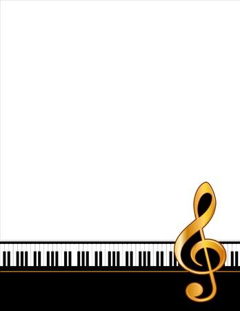 g clef: Music Entertainment Event Poster Frame, piano keyboard, golden treble clef, vertical. Copy space for concerts, performances, recitals, events, announcements, fliers.