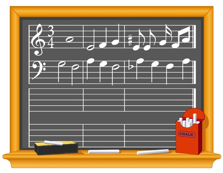 Music Blackboard, Chalk, Eraser, with music notes. Copy space to write your own music.  Vector