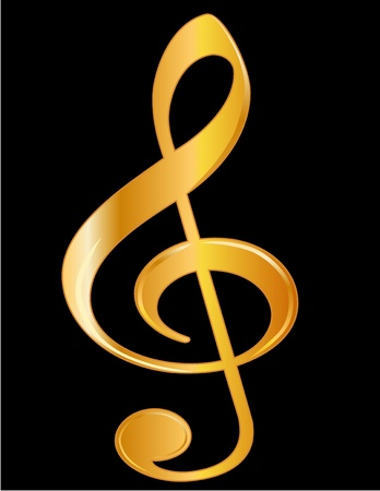 clef: Golden Treble Clef with detailed shading, isolated on black background.