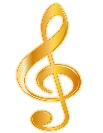 clef: Golden Treble Clef with detailed shading, isolated on white background.